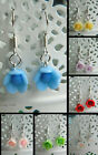 FLOWER DROP DANGLE HOOK STYLE FLORAL CLAY EARRINGS  PIERCED 1CM KITSCH KAWAII