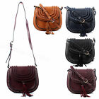 Ladies Designer Faux Leather Tassy Shoulder Handbag Fashion Saddle Bag