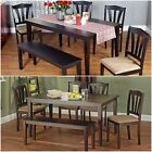 6 Piece Dining Set Bench table 4 chairs espresso black dinette kitchen wood NEW