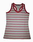 Girls Cotton White Red Stripes Summer Racer Singlet Top ActiveWear Size 6-14 New