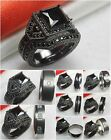 Goth Ladies Black Rhodium 925 Silver Mens Titanium Wedding & Engagement Ring Set