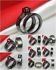 Pink Sapphire Ladies Black 925 Silver Mens Titanium Wedding Engagement Ring Set