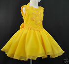 New INFANT & GIRL PAGEANT Flower Girl FORMAL PARTY DRESS YELLOW 2-7 YEARS OLD