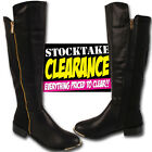 WOMENS LADIES BLACK GOLD KNEE HIGH  LOW FLAT HEEL ZIP  FAUX LEATHER BOOTS SIZE