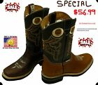 Men Genuine Cowhide Leather Cowboy Western Square Toe Boots Style Cr 121