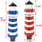 2 Red / Blue Outdoor Garden Solar 2 Amber LEDs Lighthouse Light Post Path Lawn