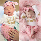 3Pcs Newborn Infant Toddler Clothing Baby Girl Pants Headband Outfit Set Clothes
