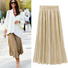 Vintage Women Stretch High Waist Plain Skater Flared Pleated Long Skirt Dress US