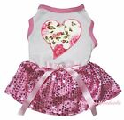 Floral Heart Valentine White Top Light Pink Bling Sequin Pet Dog Puppy Cat Dress