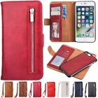 Zipper Leather Wallet Card Flip Removable Case Cover For iPhone 5 6 6S 7 Plus SE