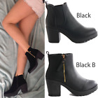 NEW LADIES WOMENS CHUNKY BLOCK HEEL GRIP SOLE CHELSEA ANKLE BOOTS SHOES SIZE 3-8