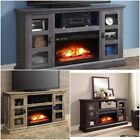 FIreplaces Media Center TV Stand Heater 70 Entertainment w Remote Brown Gray