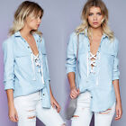 Women Summer Loose V-neck Top Long Sleeve Blouse Lace Up Casual Tops T-Shirt Top