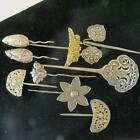 LOT OF ANTIQUE CHINESE SILVER HAIR PINS - MARKED - QING