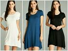 Short Sleeve Round Neck Swing Dress Blue Black White Rayon S M L