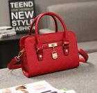 Women's Grid Lingge Pattern Metal Locker Front Pendants Long Shoulder Handbag