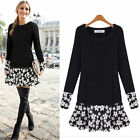 Winter Women Loose Long Sleeve Mini Shirt Dresses Party Casual Pullover Jumper