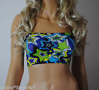 Boob Tube Top UV Neon STARS Strapless Sm 4 Stretch BANDEAU Club Party Dance B117