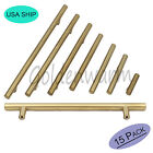 15PCS Brushed Brass Kitchen Cabinet Door Handles Drawer Pull T Bar Knobs 2-13in