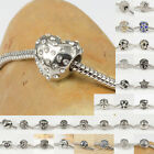New Silver Tone 316L Stainless Steel Heart Charms Beads for Women DIY Bracelets