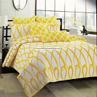 YELLOW ORANGE FULL/QUEEN or KING QUILT 3pc DIAMONDS LOOPS WHITE REVERSIBLE