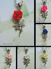 ROSE FAIRY CHARM NECKLACE PENDANT TIBETAN SILVER POLYMER CLAY