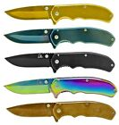 """6.5"""" Spring Assisted COLORED STAINLESS Steel Folding RAZOR Pocket Knife w/ Clip"""