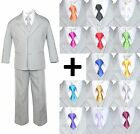 New 6pc Extra Neck tie  Boy Infant Toddler Light Silver Formal Suit Tuxedo S-20