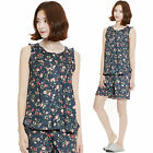 Women Cotton Pajamas Set Floral Sleepwear Nightwear Nightclothes M Size NO1