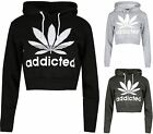New Womens Cropped Addicted Hoody Sweat Top Sports Casual Hoodie
