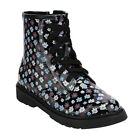 JELLY BEANS FG08 Girl's Floral Print Lace Up Combat Style Ankle Booties