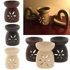 Extra Large Flower Cut-Out Oil Burner Incense Wax Burner 14cm Brown Black Cream