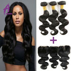 8A Brazilian Body Wave Unprocessed Remy Human Hair Bundle With Lace Closure 300g