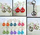 PEACE SYMBOL KEYRING OR EARRINGS HEART ROUND FOR PIERCED EARS ANTI WAR