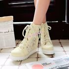 Womens High Top Ankle Boots Lace Mesh Summer Hidden Wedge Heel Sneakers Floral
