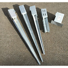 Galvanised Fence Post Support Spike & Bolt Downs For Earth & Concrete
