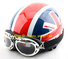 H&04 Retro Open Face Scooter Casco Motorcycle Blue Red UK flag Helmet UV Glasses