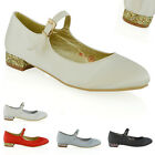 Womens Bridal Court Shoes Mary Jane Low Heel Ladies Bridesmaid Satin Pumps Size