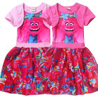 Short Sleeves Trolls Dress Party birthday Cartoon Costume Dress Up new size 3-6