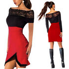 Women Lace Patchwork Boat Neck Short Sleeve Slim Hip Package Mini Dress New