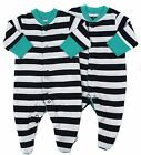 Baby Boys Sleepsuit Babygrow Two Pack Navy and White Stripes First Size Up To 1M