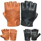 Real leather foam padded fingerless driving cycling wheelchair gym Bus gloves