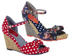 Ruby Shoo Molly Fabric Wedge Sandals UK 3-8 36-42 Red Spot Blue Floral
