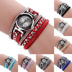 Women Multilayer Rivet Leather Rhinestones Wrap Bracelet Quartz Lady Wrist Watch
