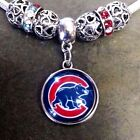 Chicago Cubs Baseball Team Logo Large Hole European Charm For Charm Bracelet