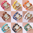 Chain Analog Bracelet Women's Strap Wrist Watch Quartz Leather Crystal Bow Decor