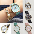 Women Girls Casual Abstraction Elephants Leather Round Dial Quartz Wrist Watch