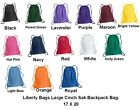 Liberty Bags Large Drawstring School Backpack Cinch Sack 17 X 20 8882
