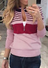 Women Sweater Printed Crewneck Zipper Striped Jumper Pullpver Casual Top Outwear