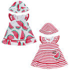 Baby Girl Summer Dress With Floppy Hat Built In Bodysuit Stripes Or Watermelon
